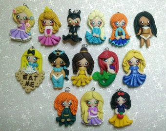 Princess Disney necklace / Disney Clay/ Collane Principesse Disney in fimo/ Doll polymer clay/ Elsa, Anna, Rapunzel, Alice, Ariel, Belle