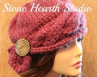 Rachelle Ladies Winter Cloche,Knit Hat Pattern,Winter Hat,Cloche,Hat with Button,Womens Hat,Girls Hat,Modern,Classy,Unique,Urban Chic!