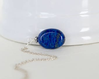 Egyptian Lapis Lazuli Pendant - Sterling Silver Dangle - Natural Genuine Navy Blue Gemstone - Necklace Jewelry