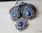 Labradorite micro macrame jewelry set Beige pendant earrings Handmade jewelry Gifts for women Gemstones  Healing stone  Silver ear wires