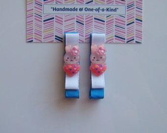 Pink Heart Bunny Hair Clips for Girls Toddler Barrette Flatback Kids Hair Accessories Grosgrain Ribbon No Slip Grip Easter