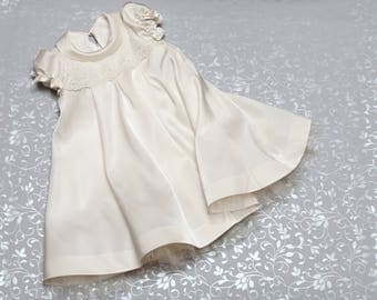 Christening dress - Silk Baptism Gown for Girls - Baby flower girl dress - First birthday outfit - Silk baby toddler dress