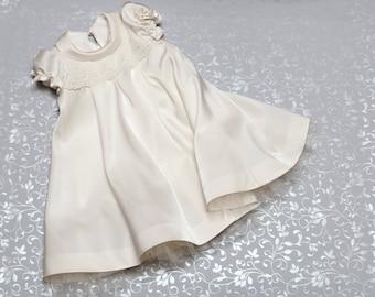 Christening dress - Silk Baptism Gown for Girls - Baby flower girl dress - First birthday outfit - Silk baby toddler dress
