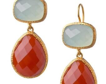 Chalcedony and Carnelian 24K Vermeil wire earrings