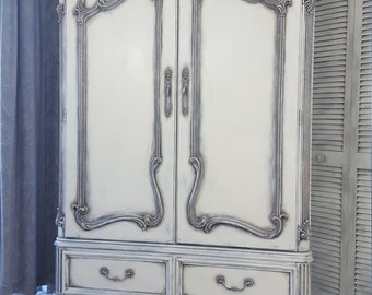 Vintage French Country, Shabby Chic Armoire, Wardrobe, TV Cabinet, Hand Painted and Distressed in Layers on Antique White Over Gray