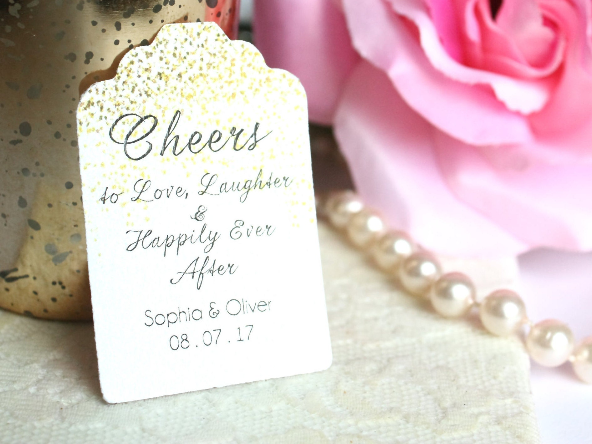 cheers to love laughter happily ever after wedding favor