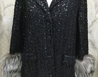 Vintage 1980s Black Sequin Coat With Fur Cuffs, Lord and Taylor