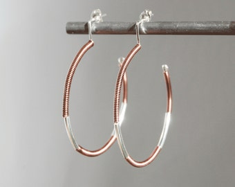 Silver Hoop Earrings,Mixed Metal Hoop Earrings,Large Hoop Earrings, Silver and Copper Hoop Earrings, Mixed Metal Hoops,Twisted Copper Hoops