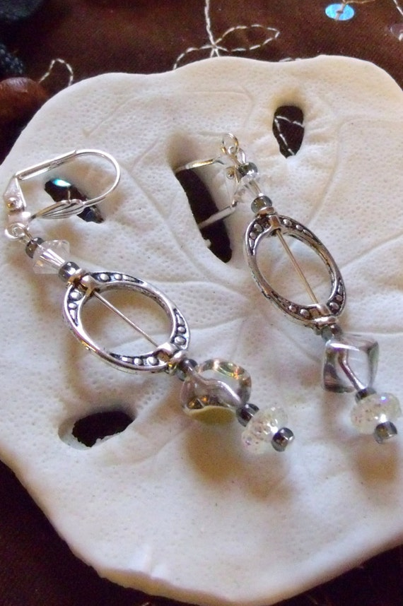 Silver frame earrings - iridescent cube earrings - long dangle glitz -  minimalist - abstract - oval openwork   earrings - lizporiginals