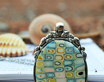 Polymer Clay Jewelry, Turquoise Pendant, Gustav Klimt style jewelry, Long Geometric Necklace
