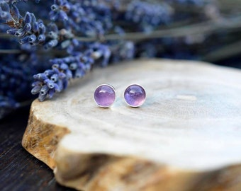 Everyday Amethyst Earrings 925 - Purple Stud Earrings - February Birthstone -Calm, Balance, Patience and Peace - February Birthstone