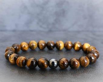 Tiger Eye Bracelet, Yellow Tiger Eye Bracelet, Mens Beaded Bracelet, Tiger Eye Bracelet Men, Mens Stretch Bracelet, Mens Bracelet