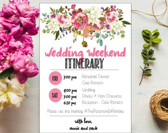 Floral Wedding program, Pink wedding program template, DIY printable wedding itinerary, wedding itinerary for welcome bag, wedding weekend