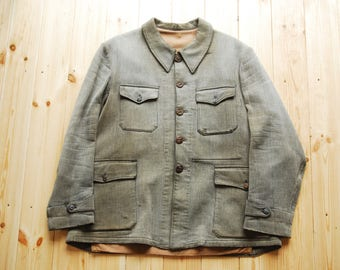 Vintage French Pique Hunting Jacket by Le Mont St Michel Large