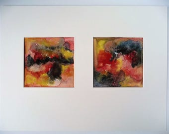 Modern Art, Small Wall Decor, Abstract Painting, Watercolor Abstract, Original Aquarel, Small Office Art, Contemporary Art, Diptych Painting