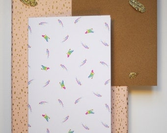 Tropical birds printed greeting card