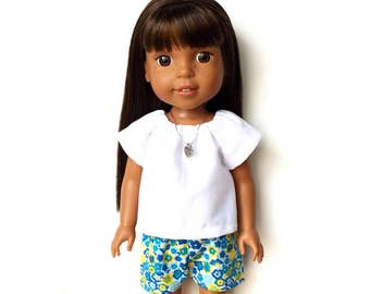 Peasant Top, White, 14.5 inch, Fits dolls such as AG Wellie Wishers Doll Clothes, Free Mini Skirt with the Purchase of 3 WW Peasant Tops