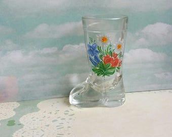 1960's Italian Boot Shot Glass - Mod Dep Made in Italy - Folk Art Flower Design