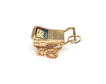 Gold and Enamel Baby Carriage Charm