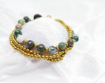 Green Pearl Stone Bead Gold Charm Bracelet  I Handmade Jewelry Accessories