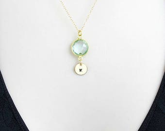 Aquamarine Necklace, Birthstone Necklace, Initial Necklace, Personalized Jewelry, Minimalist Necklace, Simple Necklace, Mothers Necklace