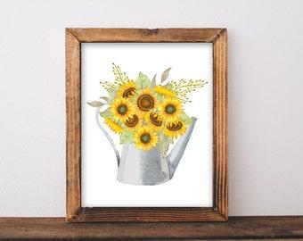 Sunflower, Printable, sunflower decor, sunflower painting, galvanized decor, galvanized, watering can, fall decor, fall decorations, autumn
