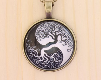 Tree of Life necklace / Yin Yang necklace / antique bronze or silver finishes
