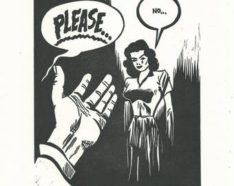 Please... No... - Linocut