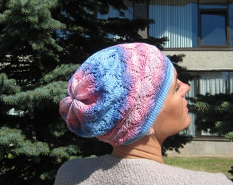 Pink laced hat Cotton summer beanie Blue beanie Gift for teen Gift for daughter Knitted spring hat Confirmation gift Sweet 16 gift for her