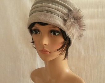 Cap Hat tassel fake fur / Grey Hat / Hat creator French / chic Hat