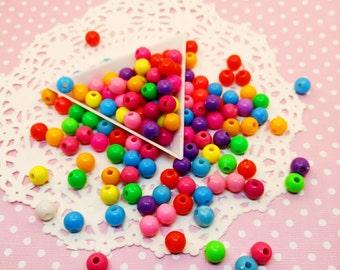 150pc Round Ball Assorted Color 8mm Beads Acrylic Plastic Bead Mix Decora Jewelry Craft DIY