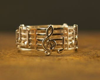 Sterling Silver Notes Ring, Music Ring, Music Jewelry, Treble Clef Jewelry, Treble Clef Ring, Musician Ring, Gift For Musician, Treble Clef