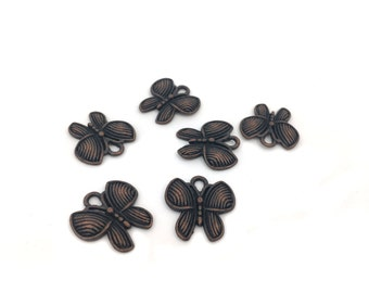 Antique Copper Butterfly Charm, Butterfly Pendant, Bracelet Charm, Animal Charm, Insect Charm, Charm Pendant, Jewelry Making, 18mm, 6pcs
