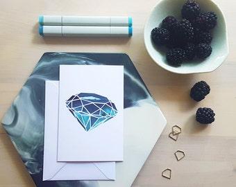 Gem Greeting Card - Aquamarine Blue - March Birthstone