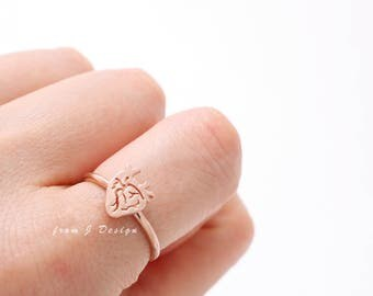 Small Anatomy Heart Open Band Ring-Adjustable Size
