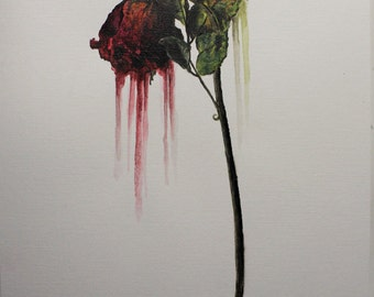 Original acrylic painting - withered rose (red)