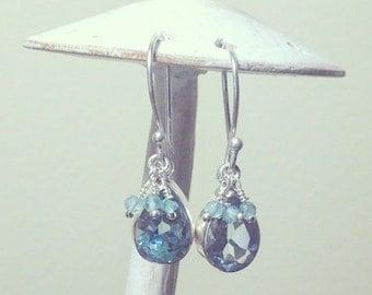 Blue Gemstone Earrings, Silver earrings, dangle earrings, Blue Topaz earrings, teardrop earrings boho earrings gifts for her dainty earrings
