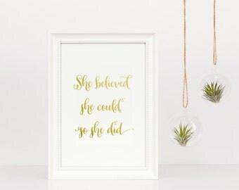 Girl Boss | Printable Art | Gold Foil Print | She Believed She Could So She Did | Motivational Art | Inspirational Art | Empowering Art