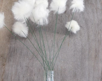 "Cottongrass Flowers (Faux, Realistic) Bog Cotton in Bouquets of 12 Flowers - 18"" - Made with 100% Natural Merino Wool"
