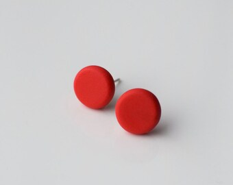 Red studs, Matte Red earrings, Small Round earrings, Matte Red studs, Disk earrings, Christmas Red stud earrings, Ball earrings, Posts studs