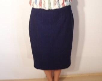 Blue Skirt Womens Pencil Skirt Retro Women Skirt Festive Skirt Office Skirt Blue Clasic Skirt knee Length Skirt Size Large