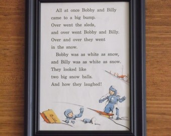 Vintage children's book page/Sledding fun/Snow/Bobby and Billy/1940s children's book/Framed art/5x7