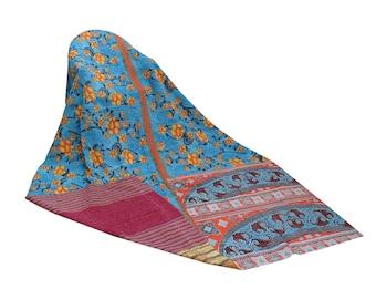 Blue Sari Kantha Quilt Twin Handmade Reversible Cotton Kantha Throw