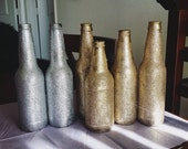 Single Glitter Bottle Vase Selection/ Gold and Silver Glitter/ Wedding Party Decor/ Table Centerpiece/ Glam Chic/ Upcycled