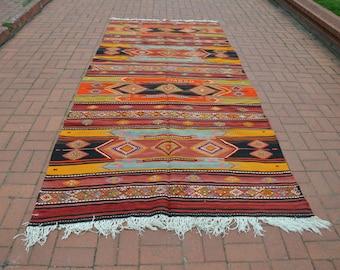 Large Turkish Kilim Rug 5.2x11.4ft Orange Anatolian Kilim Rug Turkish Ethnic Kilim Rug Turkish Rug Vintage Rug