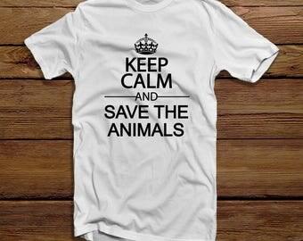 Keep Calm and Save The Animals Mens tshirt - Keep Calm Shirt - Save The Animals -  Vegan Tshirt - Mens Vegan Shirt