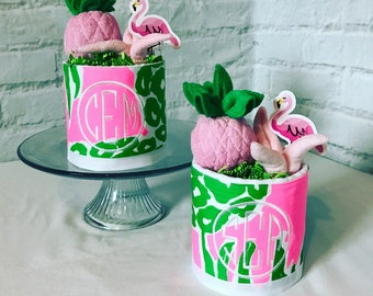lilly pulitzer baby gift flamingo baby gift diaper cake baby shower gift for girl baby shower