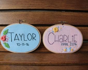 Custom Baby Name Embroidery Wall Art - Newborn - baby shower gift