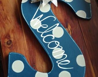 Initial Letter Welcome Wood Door Hanger