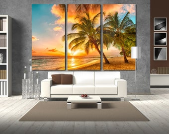 Large Wall Palm Trees Canvas Color Seaside Multipanel Canvas Barbados Canvas Art Large Ocean 1-3-4-5 Panel Palm Print
